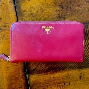 Prada Red Saffiano Leather Wallet